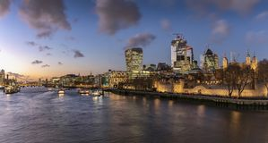 View to the Tower of London during sunset time, UK royalty free stock photography