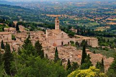 Bird view from the fortress to the town of Assisi with famous cathedral of Santa Chiara royalty free stock photography