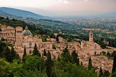 View to town of Assisi from fortress royalty free stock images