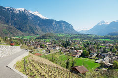 View to the town Bex (canton Vaud) in Bex, Switzerland. Royalty Free Stock Photo