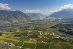 View to the town of Bozen in Northern Italy. Typical landscape with Vineyards and mountains in South Tyrol near the town of Bozen, Northern Italy, Europe stock images