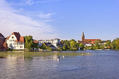 View to the Town Brandenburg. An der Havel, with the Dominsel (Cathedral Island). It is the historic heart of the town. Here stands its oldest edifice: the Dom stock image