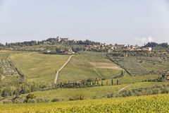 View to town Chastellina in Chianti with vineyards in Tuscany in. View to town Chastellina in Chianti with hills with vineyards in Tuscany in Italy royalty free stock photo