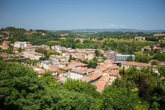 View to the town of Colle di Val d`Elsa Stock Photography