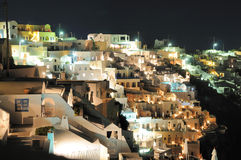 View to town Fira on Santorini by night Stock Photo