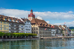 View to the Town Hall over the Reuss river in Lucerne, Switzerla Stock Photos