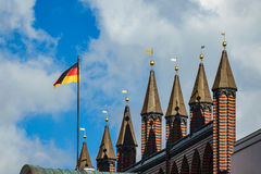 View to the town hall in Rostock, Germany Stock Photos