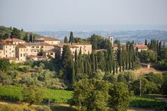 View to the town on the hills of Tuscany Stock Image
