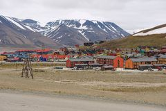 View to the town of Longyearbyen, Norway. Royalty Free Stock Photography