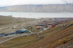 View to the town of Longyearbyen, Norway. Royalty Free Stock Image