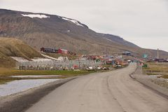 View to the town of Longyearbyen, Norway. Stock Photography