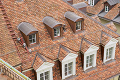 View to the traditional tiled roof with windows in Bern, Switzerland. Stock Photography