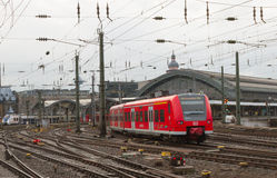 View to the train station in Cologne. Royalty Free Stock Photo