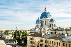 The view to the Trinity Izmailovsky Cathedral in St. Petersburg Stock Photography