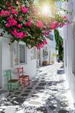 View to the typical small alleys with white houses and colorful flowers at the cycladic town of Parikia, Paros Stock Photo
