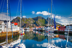 View to typical village with wooden houses in Henningsvaer, Lofoten Stock Photography