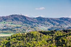 View to Uetliberg, near Zurich. Mountain Heitersberg with view to Uetliberg, near Zurich, Switzerland Stock Photos