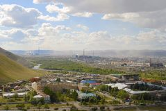 View to Ulaanbaatar city from the Tolgoi hill, Mongolia. Royalty Free Stock Photography