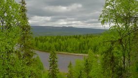 View to ural mountains. Boreal forest stock footage