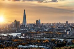 View to the urban skyline of London in autumn during sunset time. With the major tourist attractions, United Kingdom royalty free stock photo