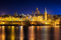 View to Valetta city historical buildings at night Royalty Free Stock Photos