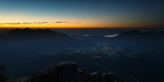 View to valley from austrian mountain Royalty Free Stock Images