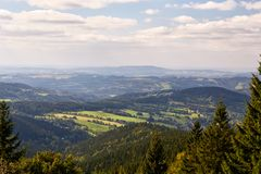 View to the valley in National Park Krkonose. Near Rokytnice nad Jizerou. Park lies in the northeast of Bohemia in the Hradec Kralove and Liberec regions. Czech Royalty Free Stock Images