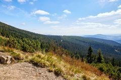 View to the valley in National Park Krkonose. Near Rokytnice nad Jizerou. Park lies in the northeast of Bohemia in the Hradec Kralove and Liberec regions. Czech Royalty Free Stock Image