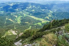 View to valley from Rax mountains Royalty Free Stock Images