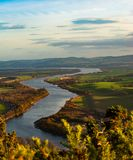A view to river Tay from Kimmoull hill, Perthshire, Scotland. A view to the valley of the river Tay from Kimmoull hill, Perthshire, Scotland in golden snset Stock Photography