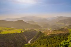 View to valley at the road to High Atlas mountains - Morocco Stock Photo