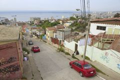 View to Valparaiso harbor from a residential area, Valparaiso, Chile. Stock Photos