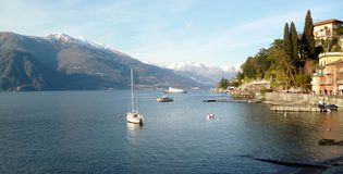 View to Varenna bay at lake Como in cold winter day Stock Image