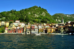 View to Varenna centre from ferry. Royalty Free Stock Images