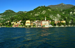 View to Varenna from ferry. Stock Photography