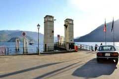 View to Varenna port in spring sunny day. Royalty Free Stock Photos