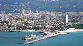 View to Varna from the sea in Bulgaria. Varna - the sea capital of Bulgaria, the third largest city in the country. The city was founded by the ancient Greeks stock footage