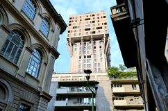 A view to the Velasca tower in Milan. Royalty Free Stock Photo
