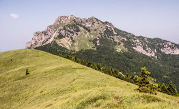 View to Velky Rozsutec hill from Osnica hill in summer Mala Fatra mountains in Slovakia. Rocky limestone and dolomitian Velky Rozsutec hill from Osnica hill with royalty free stock images