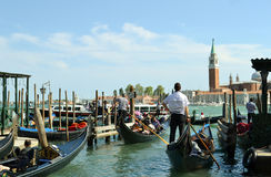 View to Venice lagoon traffic in spring. Stock Photo