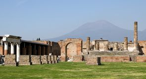 View to Vesuvius from Pompei. (Italy royalty free stock photography