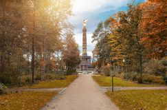The Tiergarten with a view to the Victory Column in Berlin Royalty Free Stock Photos