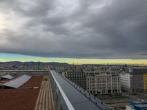 view to vienna city at the rooftop stock photos