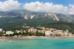 View to the village of Becici from the sea. Montenegro Royalty Free Stock Images