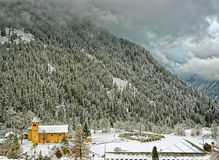 View to the village in french alps. View to the small mountain village in french alps Stock Photography