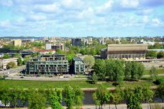 View to the Vilnius city from Gediminas castle hill Royalty Free Stock Photos