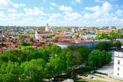 View to the Vilnius city from Gediminas castle hill Royalty Free Stock Image