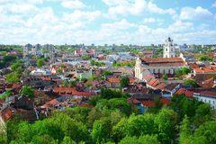 View to the Vilnius city from Gediminas castle hill Royalty Free Stock Photo