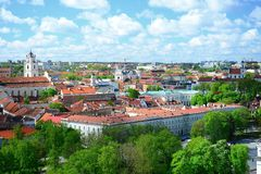 View to the Vilnius city from Gediminas castle hill Stock Photo