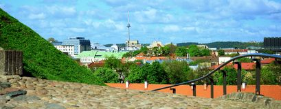 View to the Vilnius city from Gediminas castle hill Stock Image